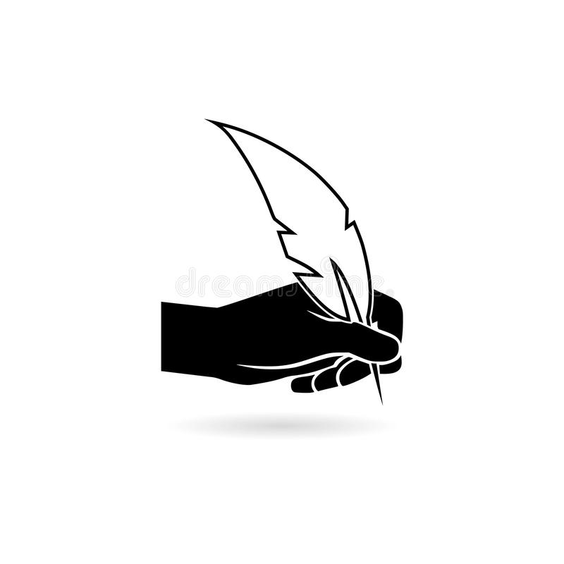 Hand with a feather pen icon on white background. On white vector illustration
