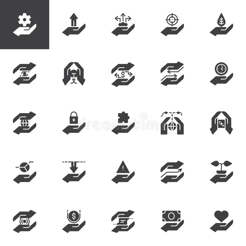 Hand feature vector icons set royalty free illustration