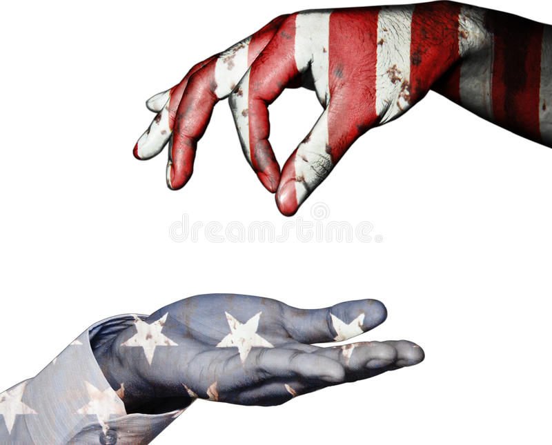Hand finger for beg with give on usa flag background. Hand finger for beg with give on usa flag isolated background royalty free stock image