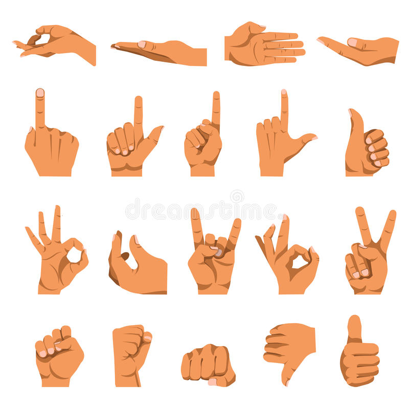 Hand and finger gestures vector flat isolated icons set vector illustration
