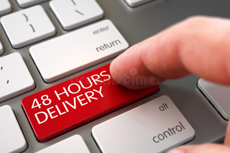 Hand Finger Press 48 Hours Delivery Button. 3D. 48 Hours Delivery Concept - Modern Keyboard with Red Keypad. 3D Render stock image