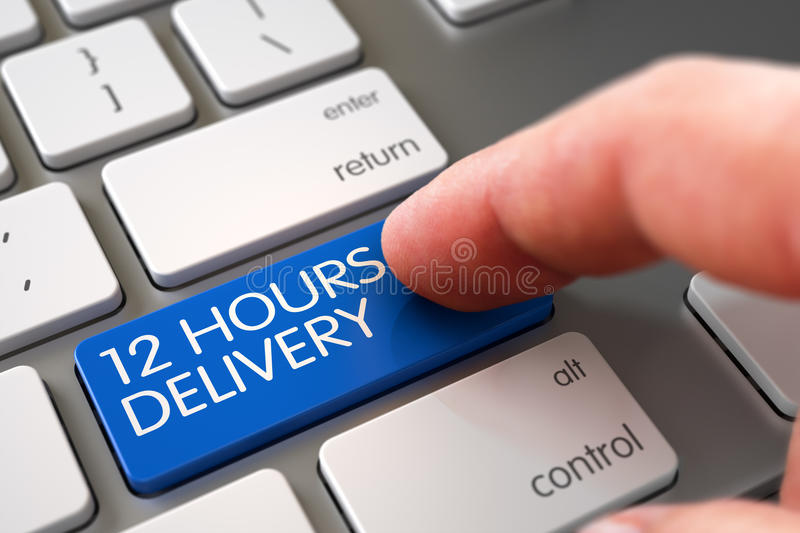 Hand Finger Press 12 Hours Delivery Keypad. 3D. Hand using Modern Laptop Keyboard with 12 Hours Delivery Blue Button. 3D Illustration stock photo