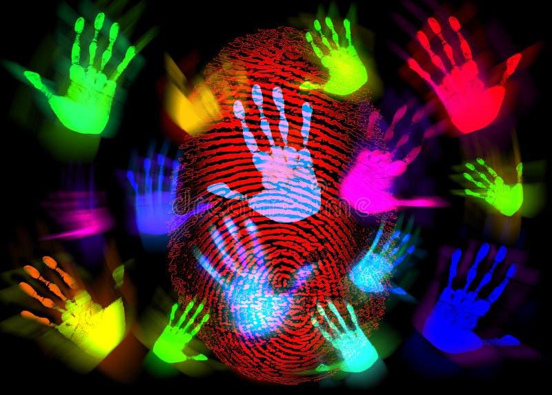 Hand Finger Print Colorful royalty free illustration