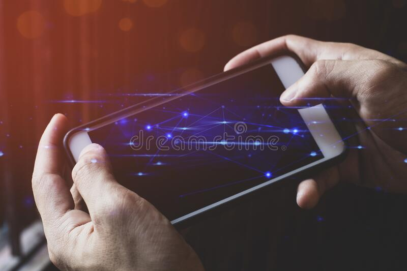 Hand finger touch on screen smartphone device for connecting to social network bandwidth internet digital big data safety security. Businessman hand finger touch stock photo