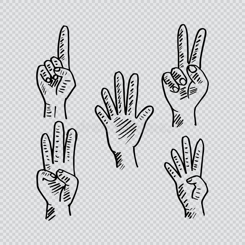 Hand and fingers count. Hand drawing illustration stock illustration