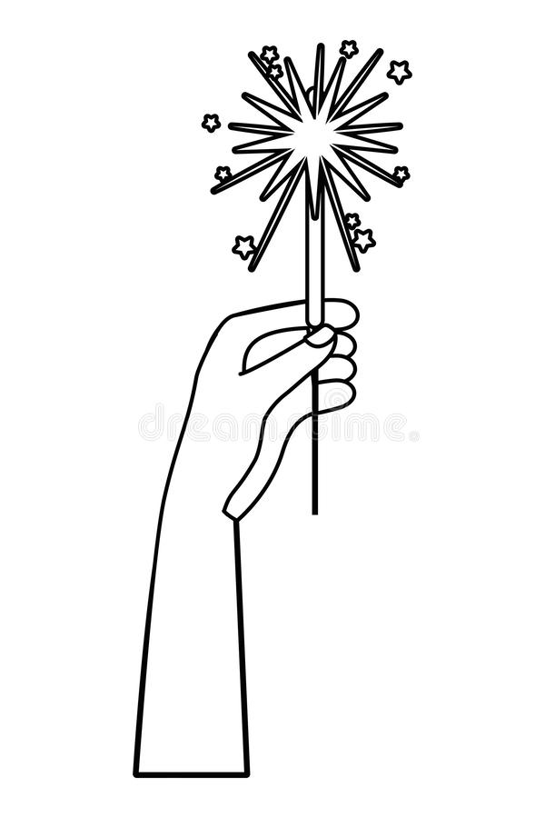 Hand with firework design vector illustrator. Hand with firework design, Celebration festival event holiday party anniversary and explosion theme Vector vector illustration