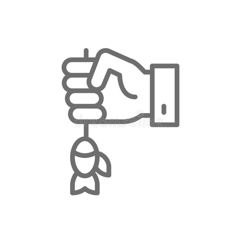 Hand with fish, fishing bait, lure line icon. royalty free illustration