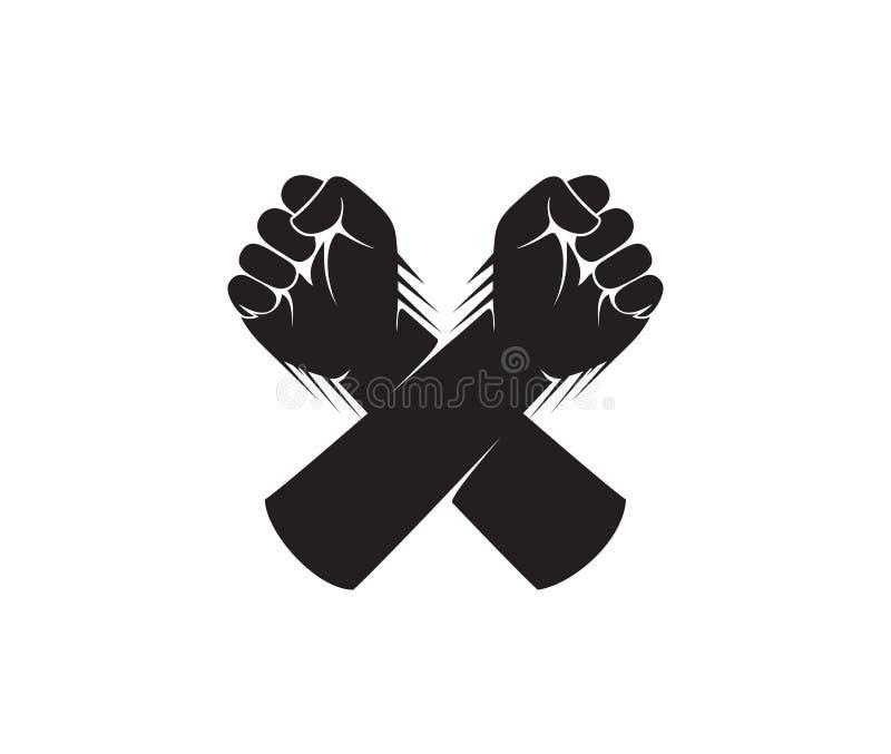 hand fist cross logo design vector illustration