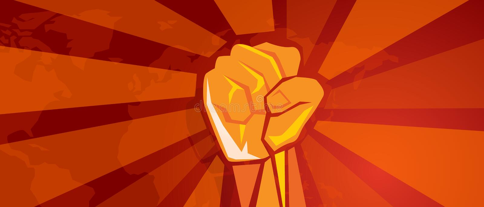 Hand fist revolution symbol of resistance fight aggressive retro communism propaganda poster style in red with world map. Background vector royalty free illustration