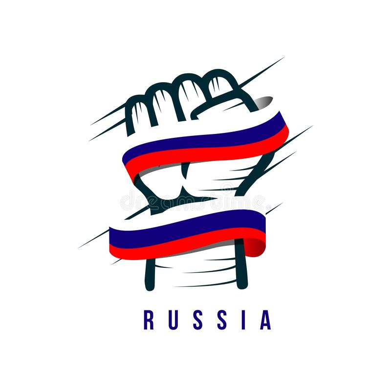 Hand and Flag Russia Vector Template Design Illustration stock illustration