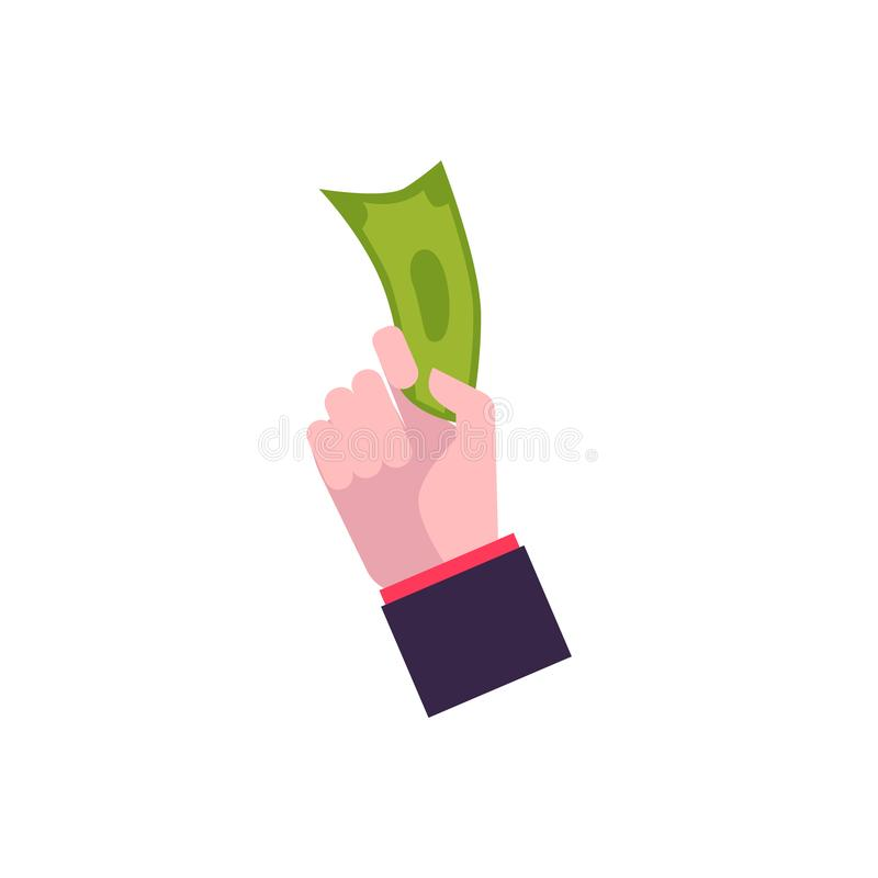 Hand in flat style holds paper dollar, banknote, cash. stock illustration