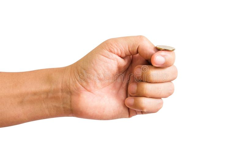 Hand flip a coin. Isolated on white background. with clipping path stock photo