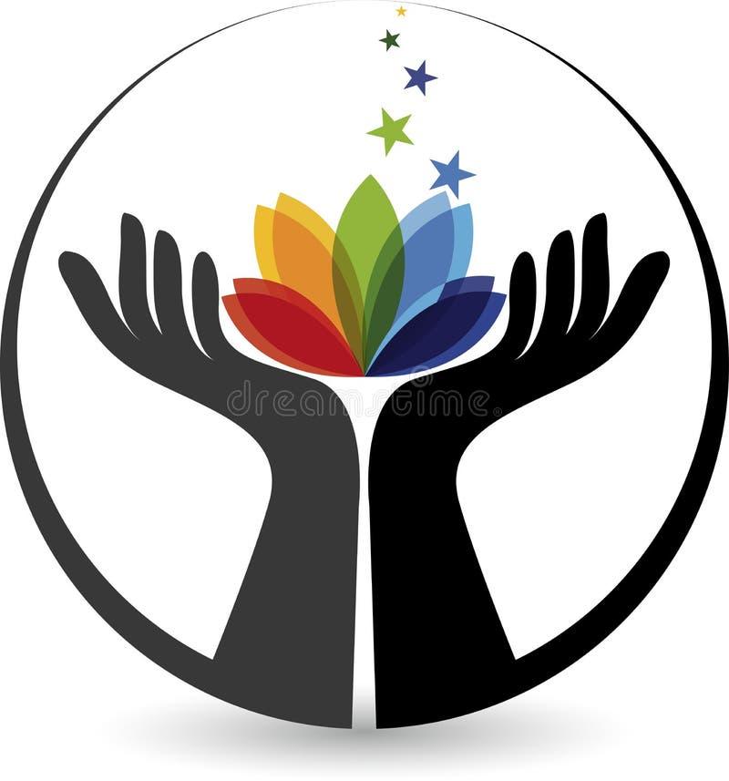 Hand flower logo stock illustration