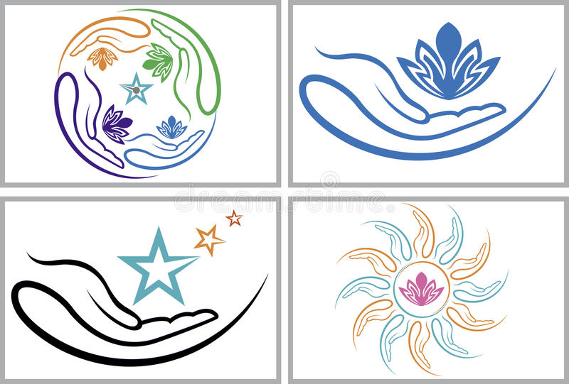 Hand flowers collection logos stock illustration
