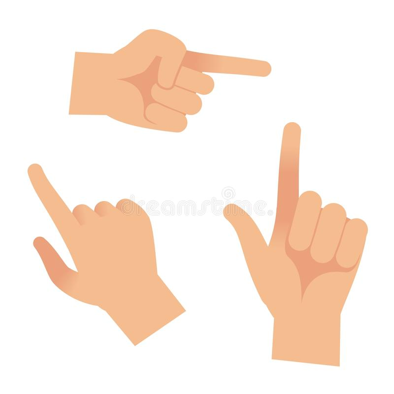 Hand in forefinger icons. Holding pointing hands drawing gesture to object isolated vector outline set vector illustration