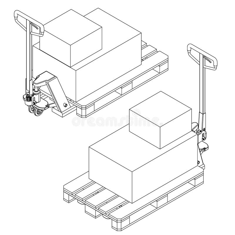 Hand fork lift truck and pallet isometric outline drawing stock illustration