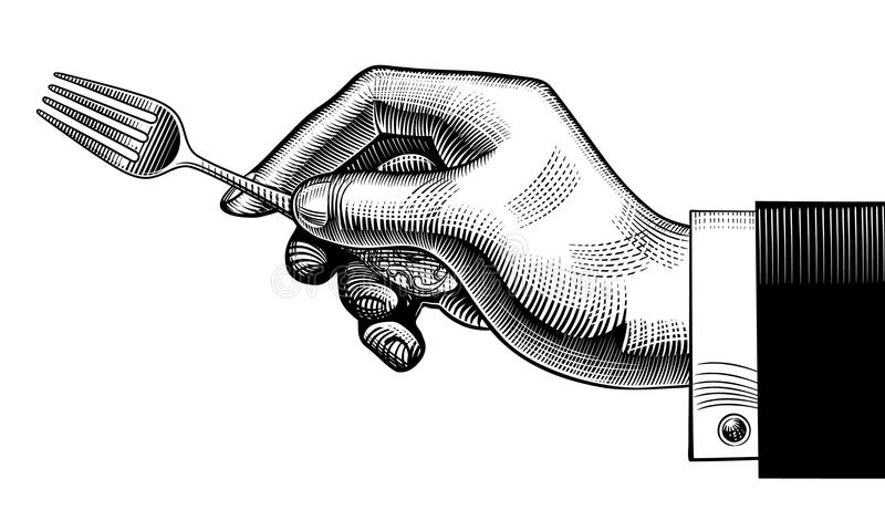Hand with a fork stock illustration