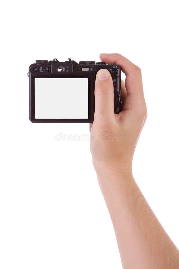 Hand fotographisch mit einer Digitalkamera stockfoto