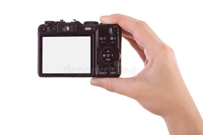 Hand fotographisch mit einer Digitalkamera stockbild
