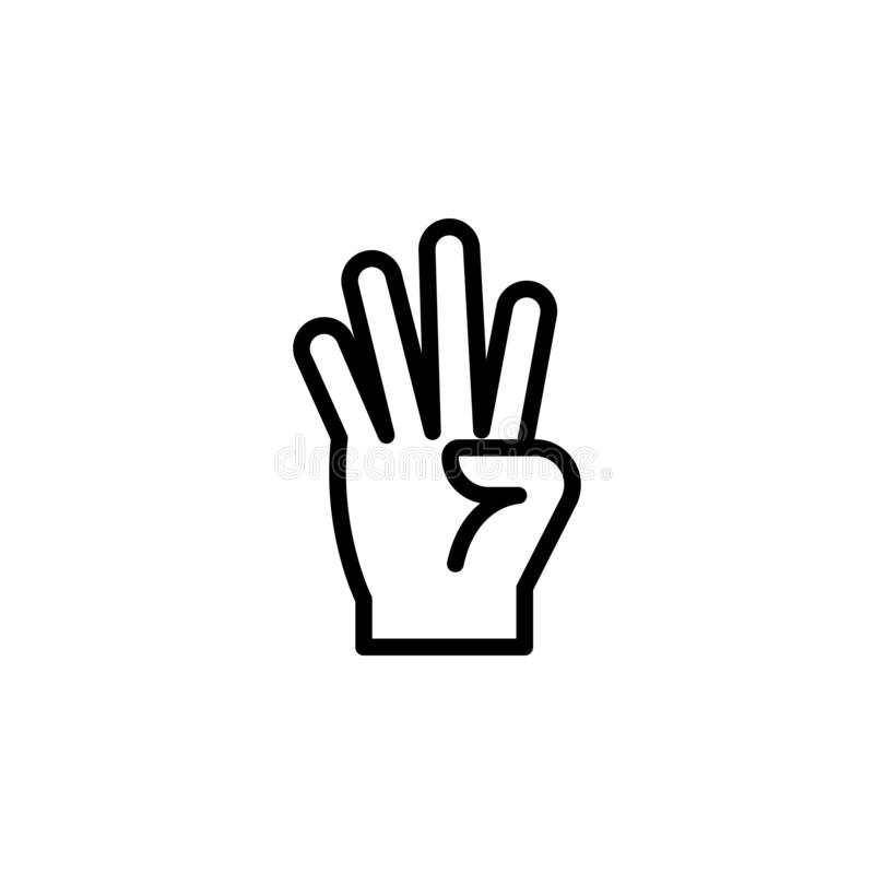 Hand four finger gesture outline icon. Element of hand gesture illustration icon. signs, symbols can be used for web, logo, mobile stock illustration