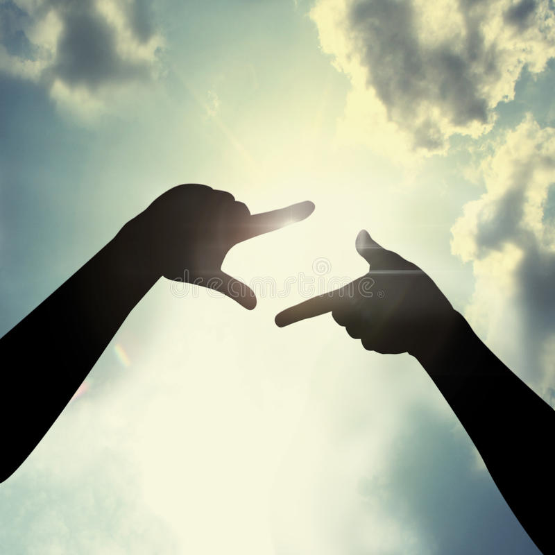Hand Framing In Sky Stock Image