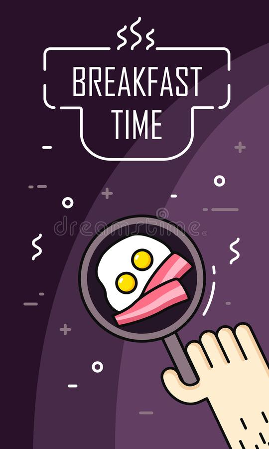 Hand fry eggs and bacon in a frying pan. Breakfast time banner in thin line flat design. Vector.  royalty free illustration