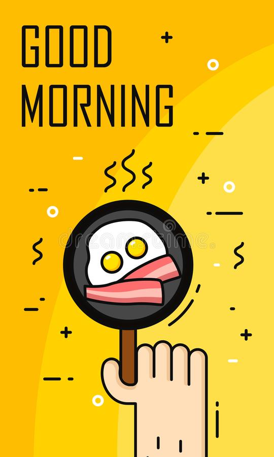 Hand fry omelette and bacon in a frying pan. Good morning banner in thin line flat design. Vector.  stock illustration