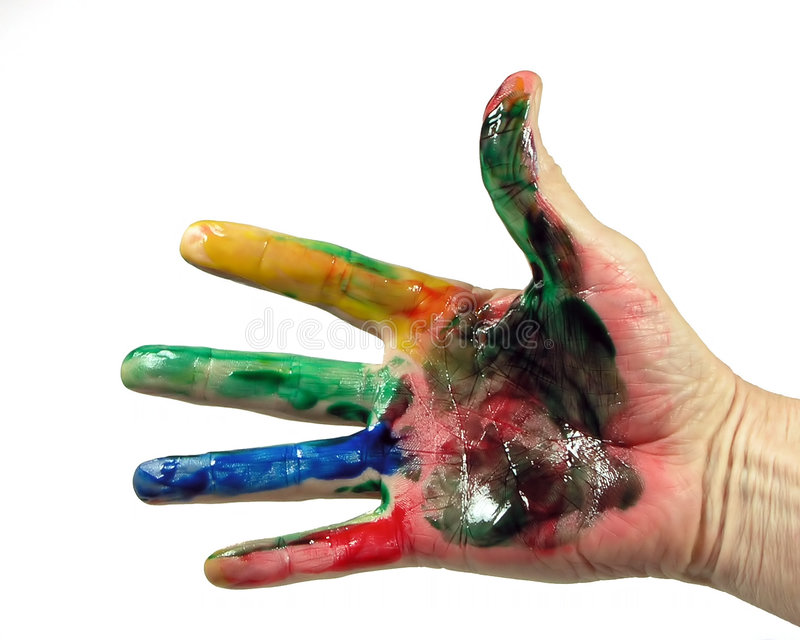 Hand full of paint stock images