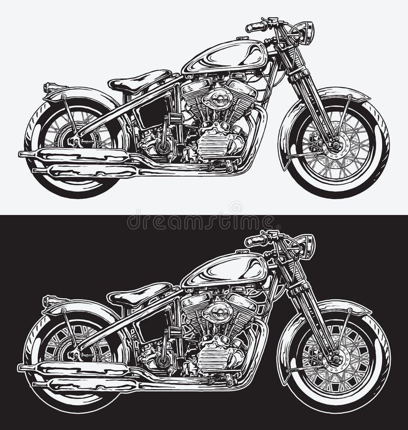 Hand Geïnkte Motorfiets royalty-vrije illustratie