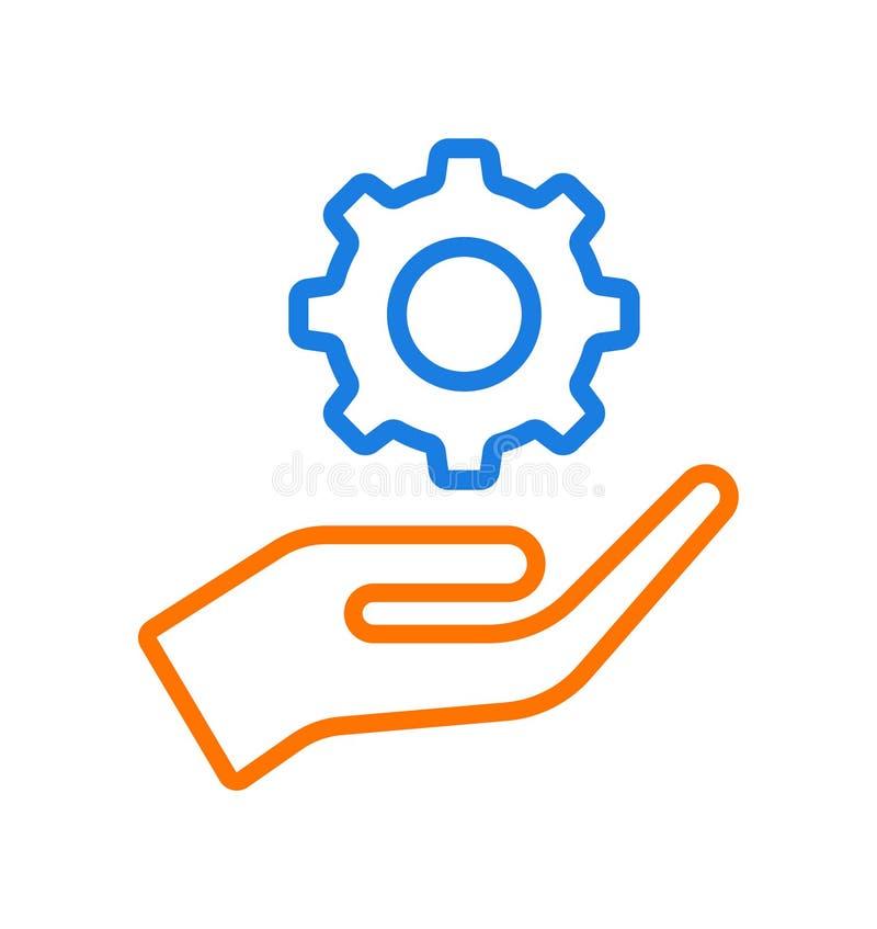 Hand giving gear icon logo vector illustration