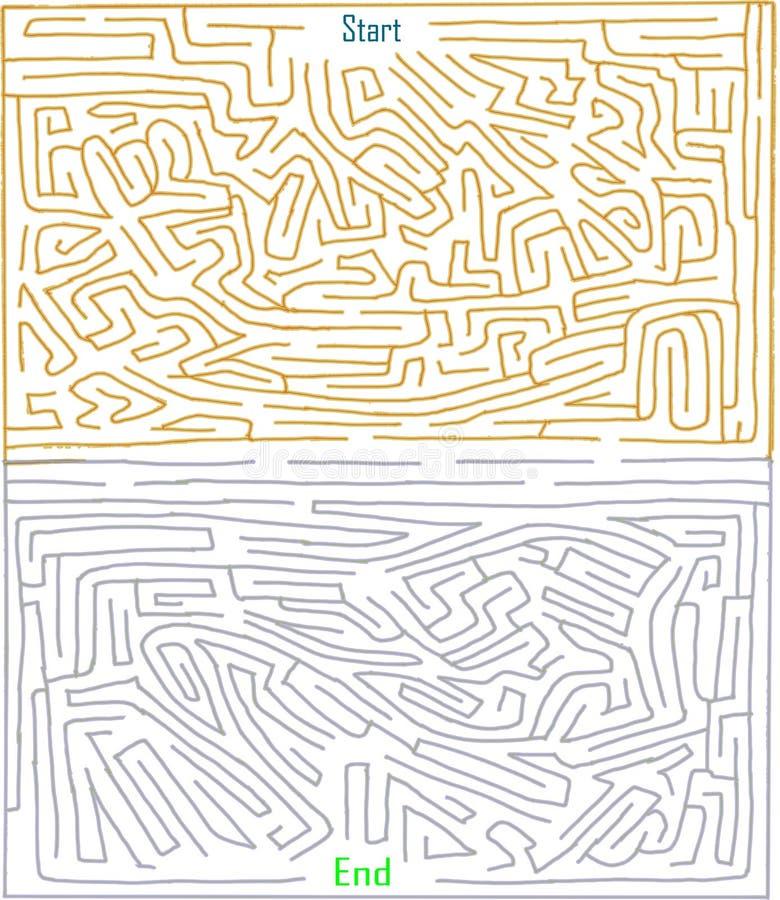 Hand - gemaakt labyrint nummer dertien, moeilijk niveau, twee toonkleur, Playable labyrintspel royalty-vrije illustratie