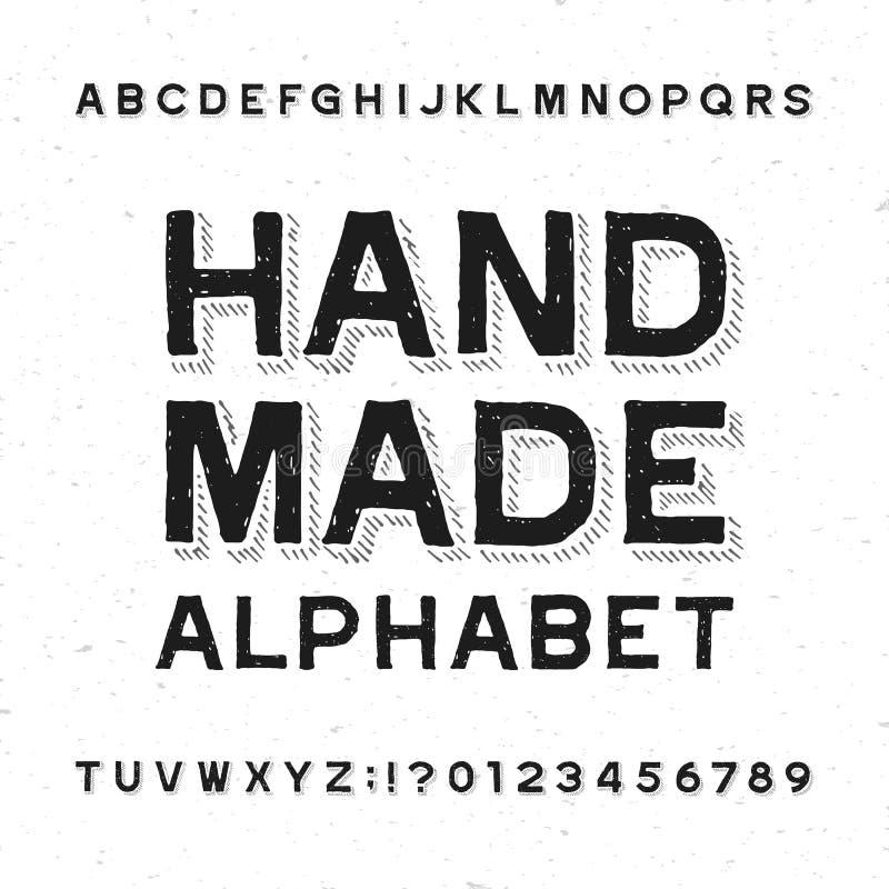 Hand - gemaakte alfabetdoopvont Verontruste uitstekende letters en getallen op een grungeachtergrond royalty-vrije illustratie