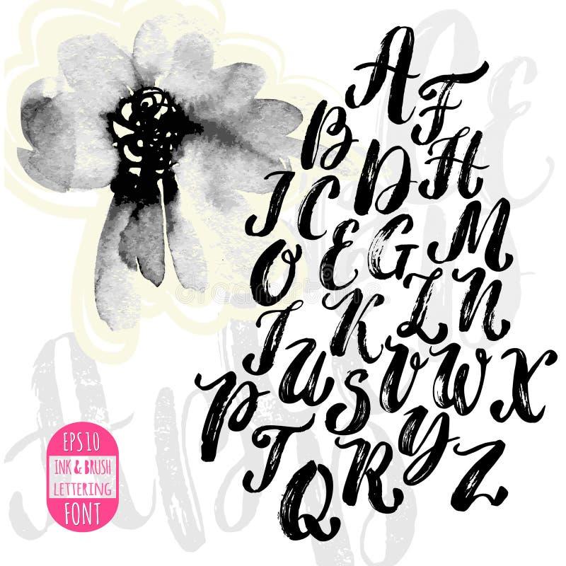 Hand - gemaakte borstel en inktlettersoort Met de hand geschreven retro geweven gru stock illustratie