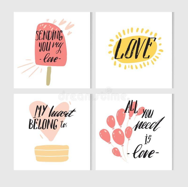 Hand - gemaakte vector abstracte Valentijnskaartendag de voor het drukken geschikte eenvoudige die inzameling van groetkaarten me royalty-vrije illustratie