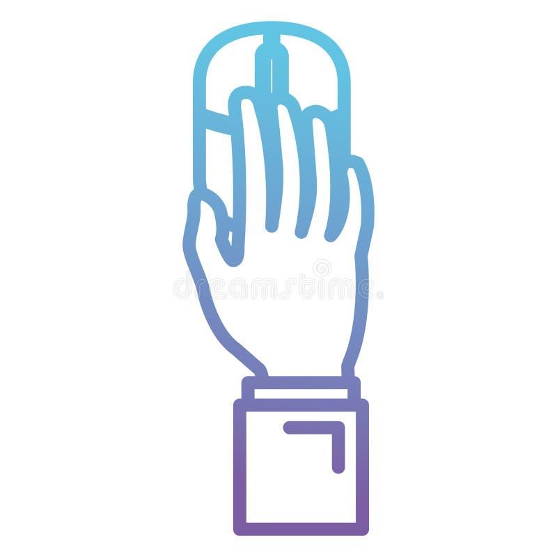 Hand genom att använda datormusen stock illustrationer