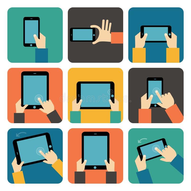 Hand genom att använda mobiltelefon- och minnestavlaPC royaltyfri illustrationer