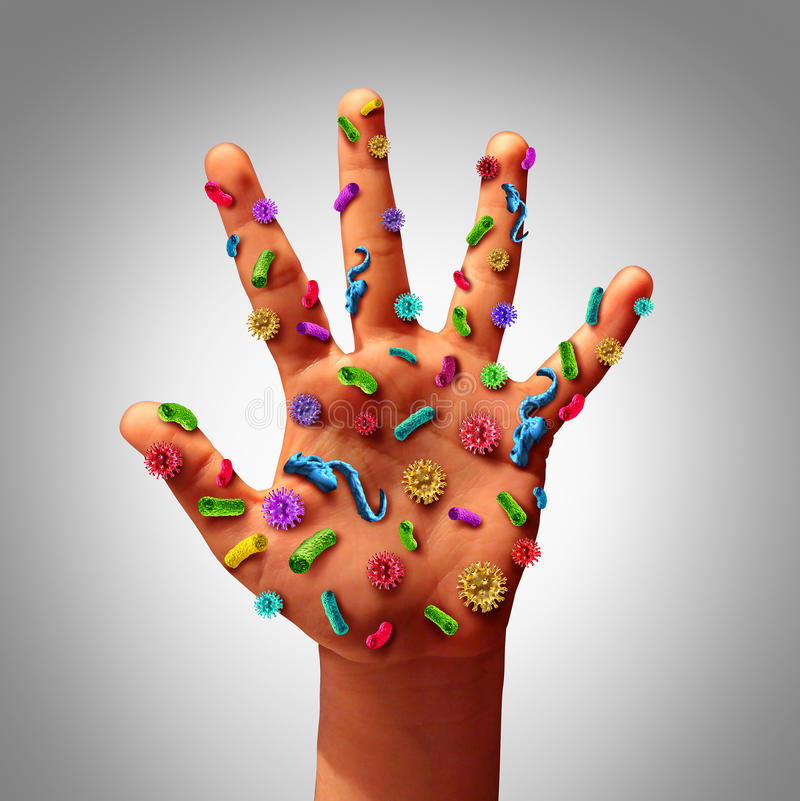 Hand Germs. Disease spread and the dangers of spreading illness in public as a health care risk concept to not wash your hands as dirty infected fingers and