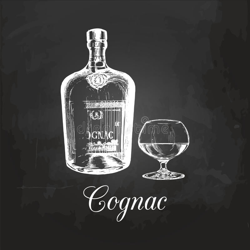 Hand geschetst cognacfles en glas Vectorillustratie van brandewijnreeks op een bord Uitstekend alcoholisch drankmenu vector illustratie