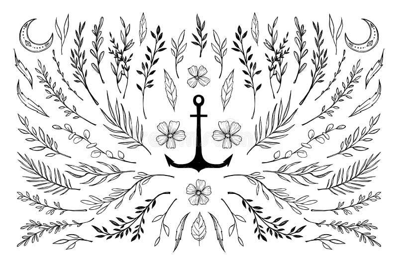 Hand geschetste vector uitstekende elementen royalty-vrije illustratie