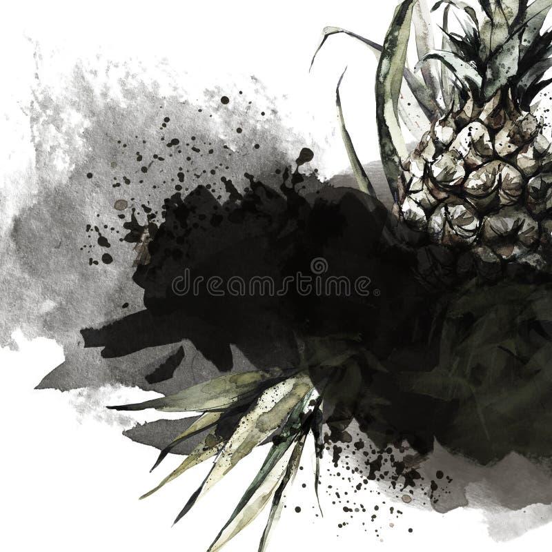 Hand geschilderd kader met ananassen, bladeren en waterverfplonsen Abstracte tropische illustratie in bronsschaduwen royalty-vrije illustratie