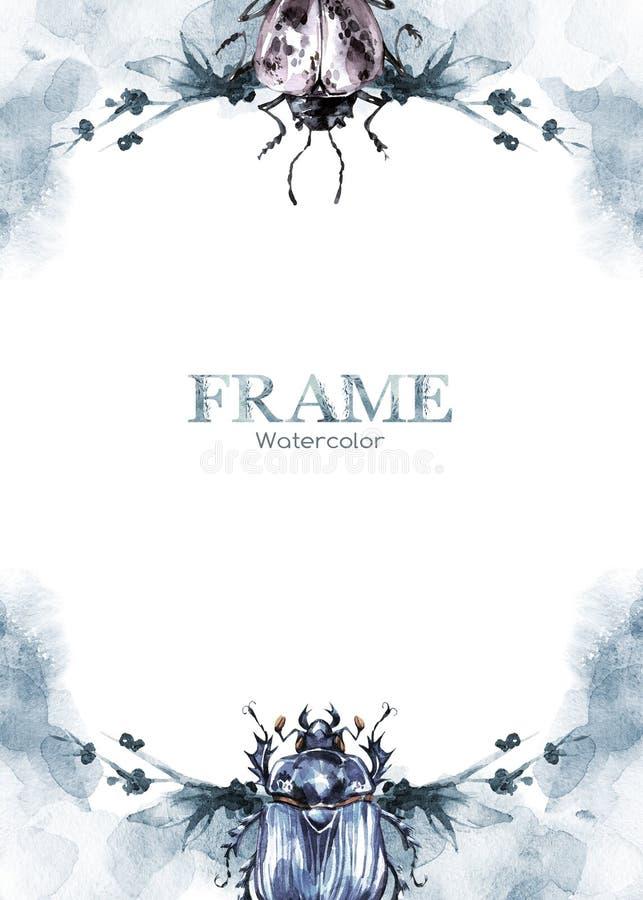 Hand geschilderd kader met waterverfbloemen en beeltes Originele hand getrokken illustratie insecten Natuurlijk malplaatje vector illustratie