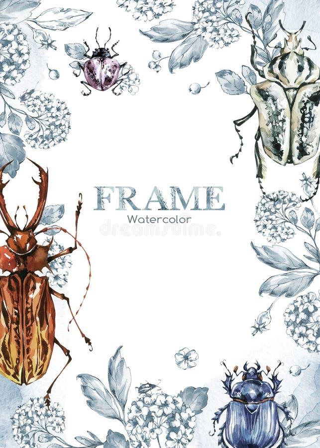 Hand geschilderd kader met waterverfbloemen en beeltes Originele hand getrokken illustratie insecten Natuurlijk malplaatje royalty-vrije illustratie