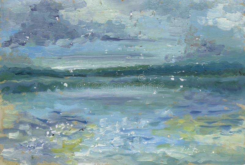 Hand Geschilderd Silhouet van Vuurtoren bij Zonsondergang Landschap met rivier en bos stock illustratie