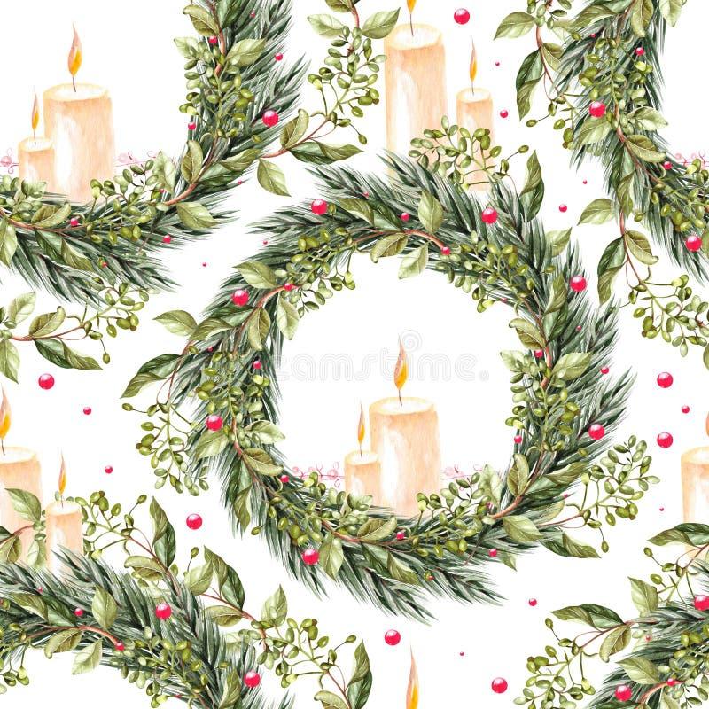 Hand geschilderd vrolijk Kerstmis naadloos patroon met de kroon van waterverfkerstmis en kaarsen in het midden stock illustratie