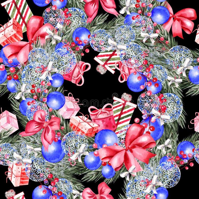 Hand geschilderd vrolijk Kerstmis naadloos patroon met waterverfkerstboom, ballen van blauwe kleuren, giften en speelgoed stock fotografie
