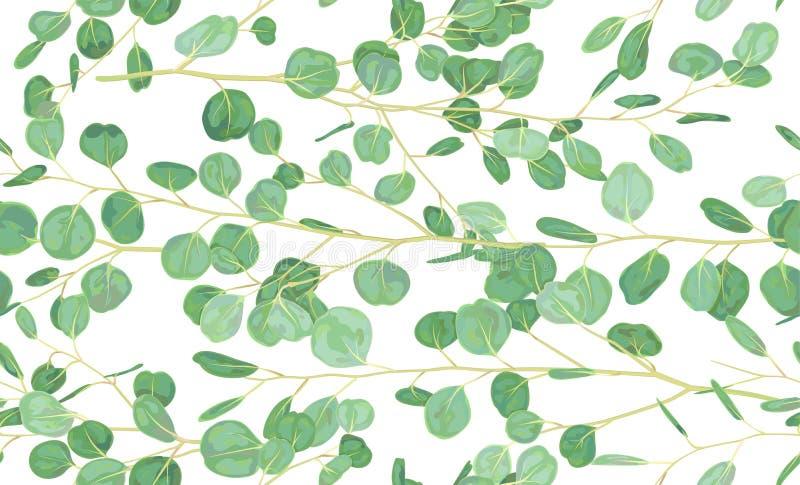 Hand geschilderd waterverf naadloos patroon met eucalyptuszilver vector illustratie
