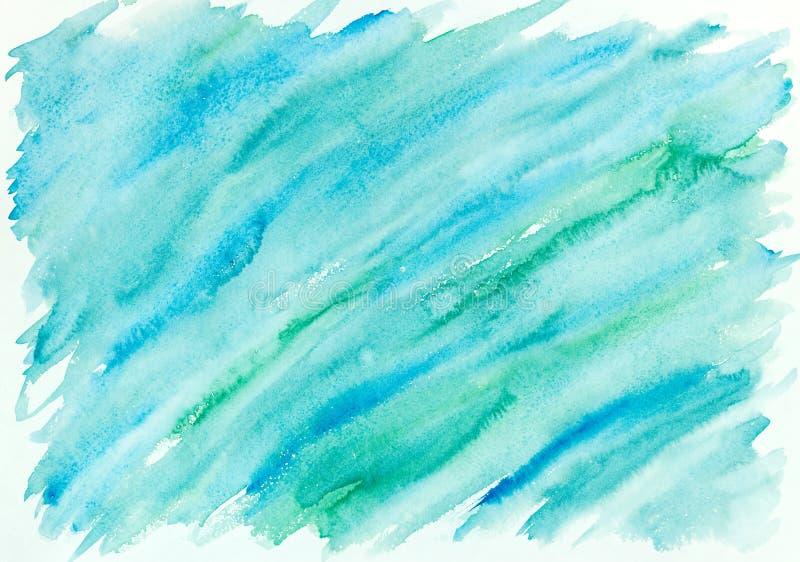 Hand geschilderde abstracte waterverfachtergrond in blauw en groen stock afbeeldingen