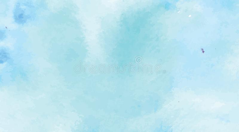 Hand Geschilderde Art Of Watercolor Blue Color-Verf op Waterverfdocument stock illustratie