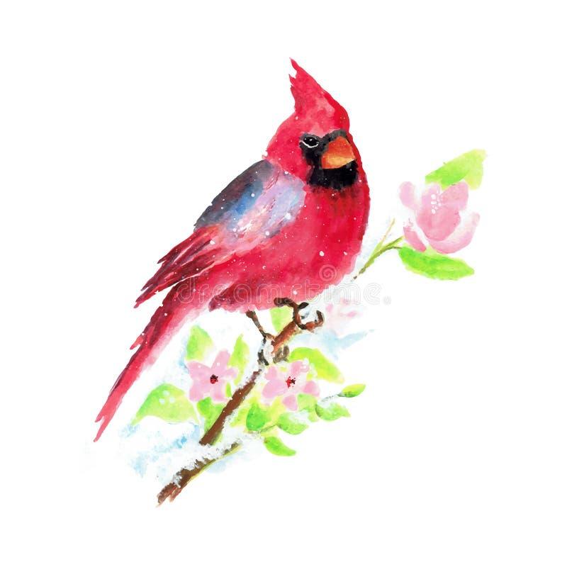 Hand Geschilderde de Vogel Vectorillustratie van Waterverfkerstmis royalty-vrije illustratie