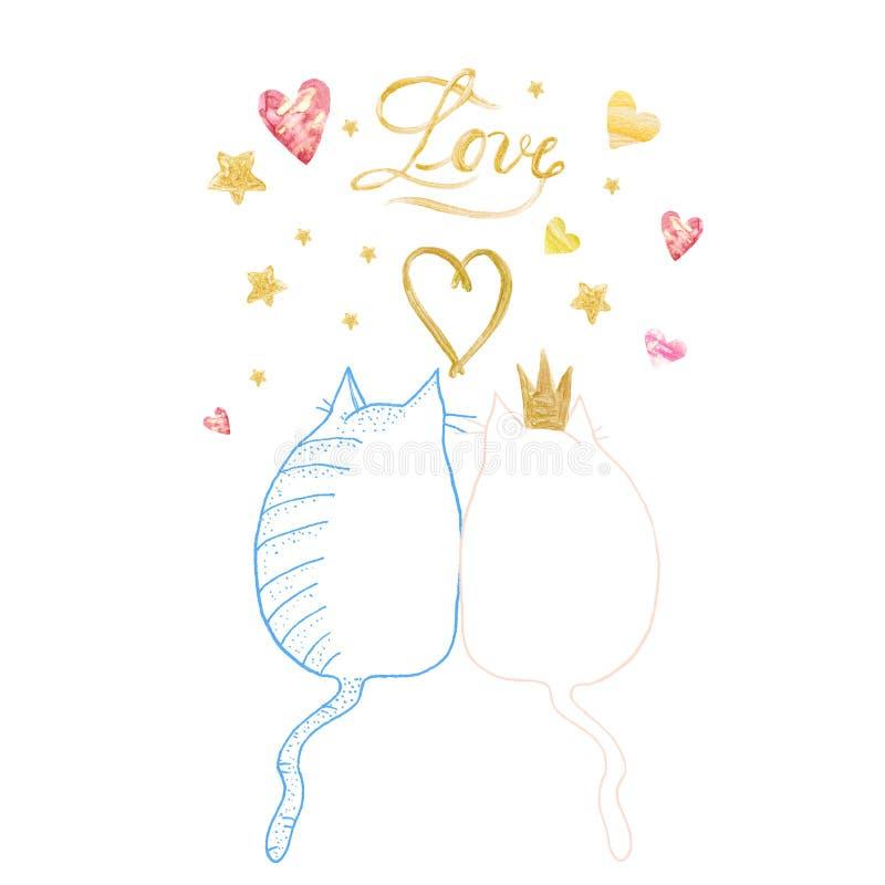 Hand geschilderde het paarillustratie van de Valentijnskaartendag met twee katten De kaart van de schetskrabbel stock illustratie